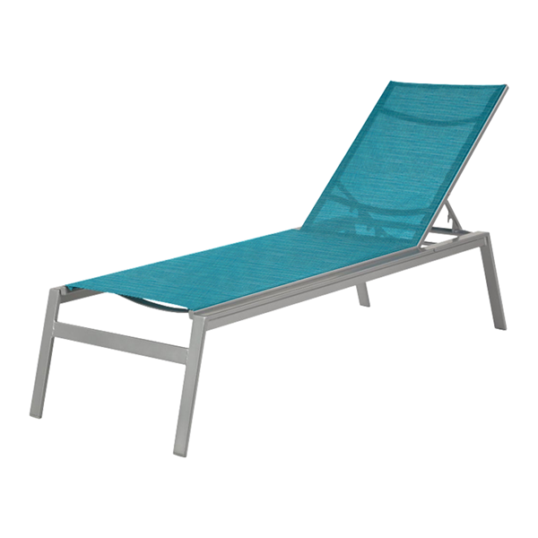 Skyway Sling Armless Chaise Lounge With Stackable Powder Coated Aluminum Frame