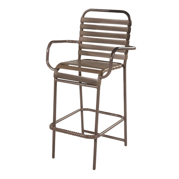 St. Maarten Vinyl Strap Bar Stool with Arms - Commercial Aluminum Frame