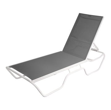 Delray Full-Base Sling Chaise Lounge Commercial Powder-Coated Aluminum Stackable