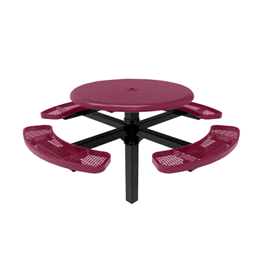 "RHINO 46"" Round Solid Top Thermoplastic Polyolefin Coated Pedestal Picnic Table"