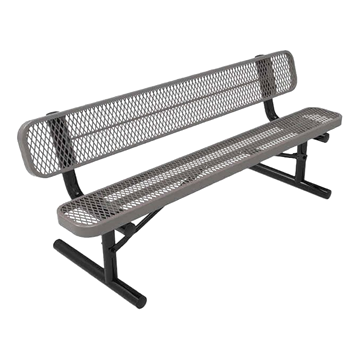 RHINO 8 ft. Thermoplastic Polyolefin Coated Portable Bench with Back