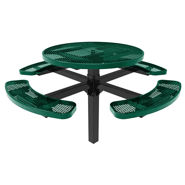 "RHINO 46"" Round Thermoplastic Polyolefin Coated Pedestal Grey Picnic Table - Punched Steel - Inground Mount 46"" Round Thermoplastic Polyolefin Coated Pedestal Green Picnic Table"