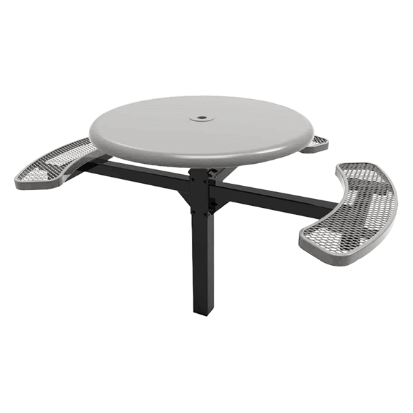 "RHINO 46"" Wheelchair Accessible Round Solid Top Thermoplastic Polyolefin Coated Grey Pedestal Picnic Table"