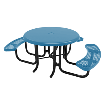 "RHINO 46"" Wheelchair Accessible Round Solid Top Thermoplastic Polyolefin Coated Picnic Table - Quick Ship"