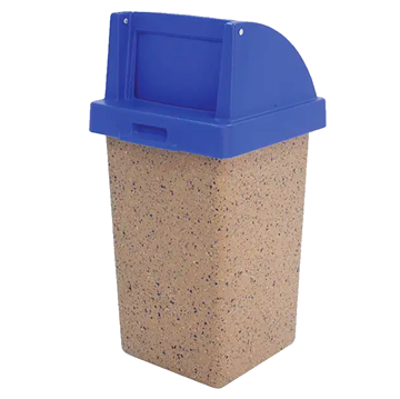 30 Gallon Commercial Concrete Square Trash Receptacle With Push Door Top