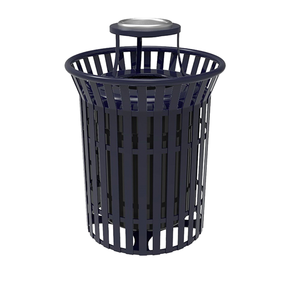Elite Series 32 Gallon Skyline Thermoplastic Trash Receptacle With Top And Liner