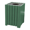 132 Gallon Recycled Plastic Square Hinged Trash Receptacle, Landmark Collection