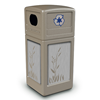 42 Gallon Recycle Top Plastic Trash Receptacle With Decorative Cattails Stainless Steel Panels