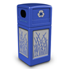 42 Gallon Recycle Top Plastic Trash Receptacle With Decorative Reeds Stainless Steel Panels