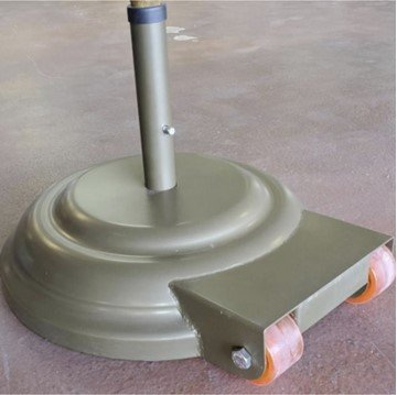"""Aluminum 23"""" Umbrella Base with Wheels Powdercoated and Weighted with Concrete - 175 lbs."""