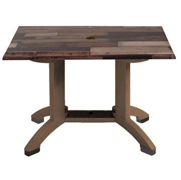 "48"" X 32"" Rectangle Atlanta Plastic Resin Patio Table - Shiplap"