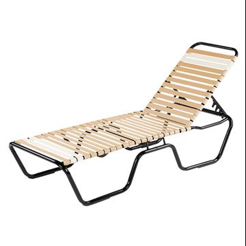 Neptune Vinyl Strap Chaise Lounge - Commercial Aluminum Frame
