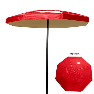 "6 Foot Octagon Valance Fiberglass Umbrella with Powder Coated Black Steel 1 1/2"" Pole"