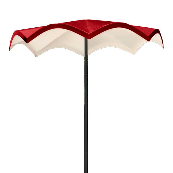 "6 Foot Wave Fiberglass Umbrella With Powder Coated Black Steel 1 1/2"" Pole"