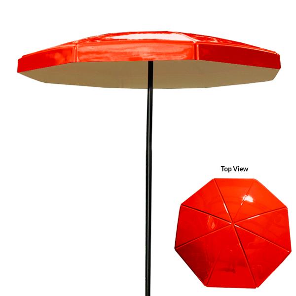 8 Foot Octagon Valance Fiberglass Umbrella With Powder Coated Black Steel