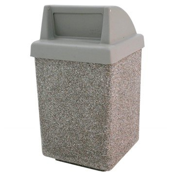 53 Gallon Commercial Concrete Square Trash Receptacle With Push Door Top