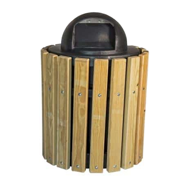 32 Gallon Round Trash Receptacle Frame with Southern Yellow Pine Slats