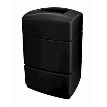 40 Gallon Poly Tec Polyethylene Rectangle Receptacle - Black