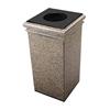 30 Gallon Stone Tec Commercial Square Polymer Concrete Fiberglass Trash Receptacle