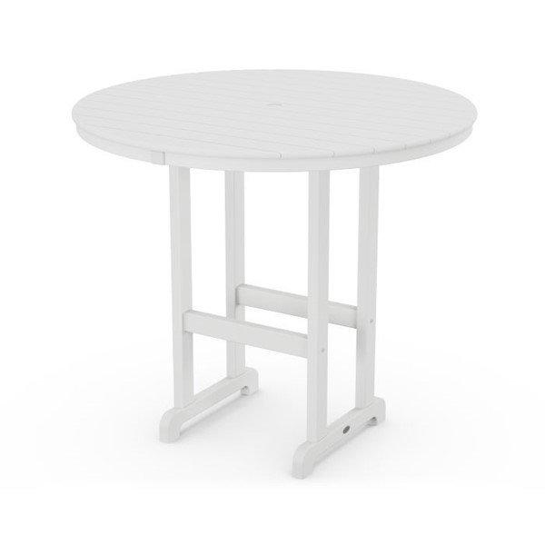 48 Inch Round Bar Table - White