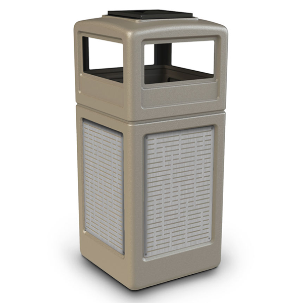 42 Gallon Ashtray Top Plastic Trash Receptacle With Decorative Horizontal Lines Stainless Steel Panels
