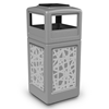 42 Gallon Ashtray Top Plastic Trash Receptacle With Decorative Intermingle Stainless Steel Panels