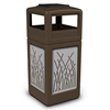 42 Gallon Ashtray Top Plastic Trash Receptacle With Decorative Reeds Stainless Steel Panels