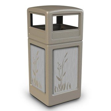42 Gallon Dome Top Plastic Trash Receptacle With Decorative Cattails Stainless Steel Panels