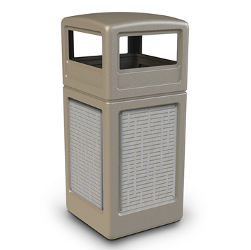 42 Gallon Dome Top Plastic Trash Receptacle With Decorative Horizontal Lines Stainless Steel Panels