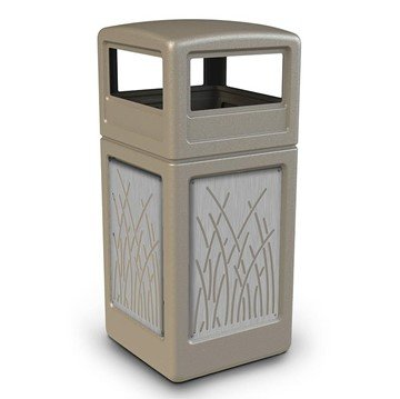 42 Gallon Dome Top Plastic Trash Receptacle With Decorative Reeds Stainless Steel Panels