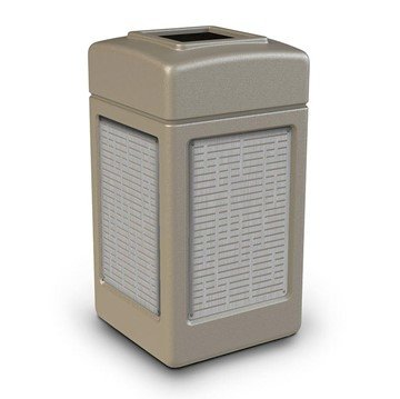 42 Gallon Open Top Plastic Trash Receptacle With Decorative Horizontal Lines Stainless Steel Panels
