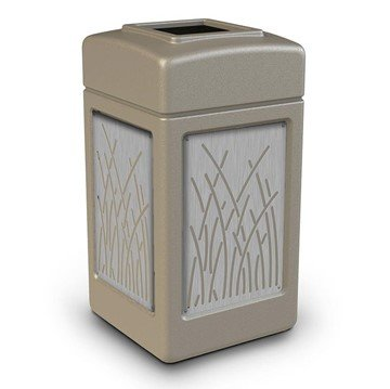 42 Gallon Stone Tec Commercial Square Plastic Trash Receptacle With Reed Panels And Open Lid