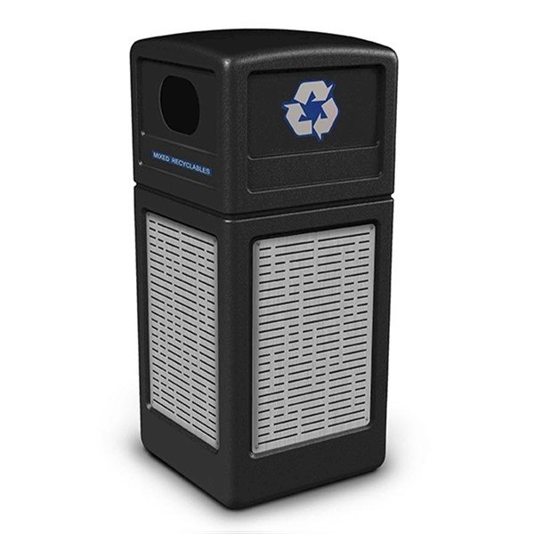 42 Gallon Recycle Top Plastic Trash Receptacle With Decorative Horizontal Lines Stainless Steel Panels