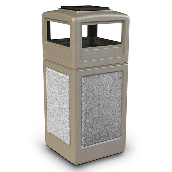 42 Gallon Stone Tec Commercial Square Plastic Trash Receptacle With Ashtray And Dome Lid