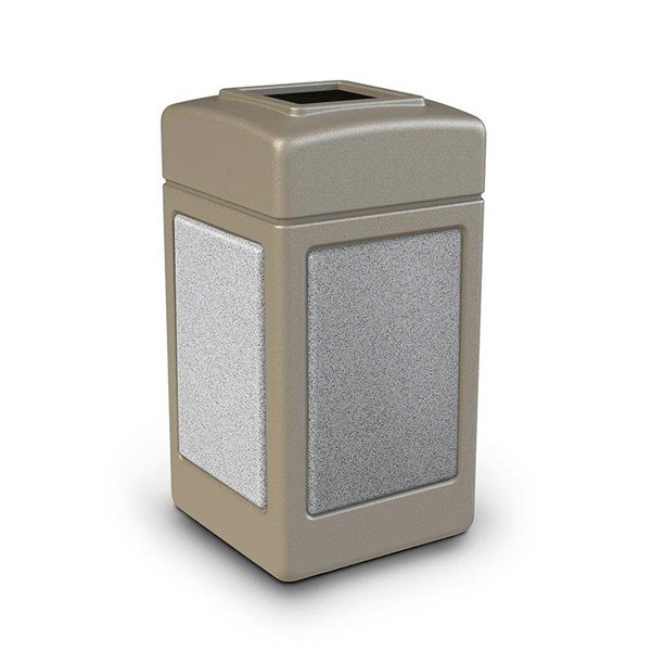 42 Gallon Stone Tec Commercial Square Plastic Trash Receptacle With Open Lid