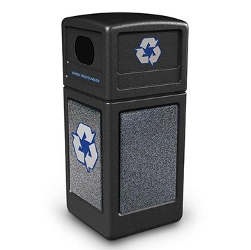 42 Gallon Stone Tec Recycling Commercial Square Plastic Trash Receptacle With Dome Lid