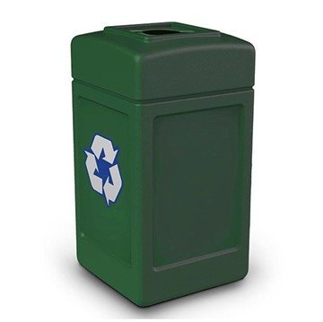 42-Gallon Polytec Plastic Recycling Container Square with Top-Opening Lid - 18 lbs.