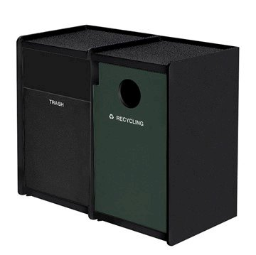 EarthCraft Dual 32-Gallon Waste and Recycling Receptacle - 168 lbs.