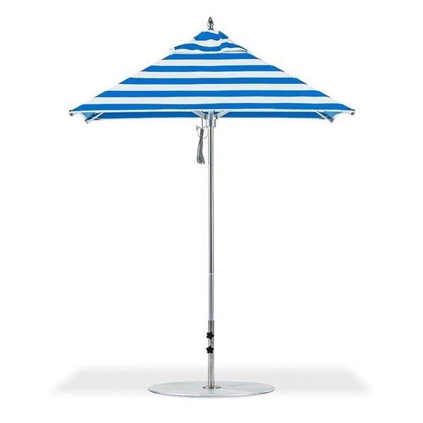 6.5 Foot Square Aluminum Rib Market Umbrella with Marine Grade Fabric Canopy