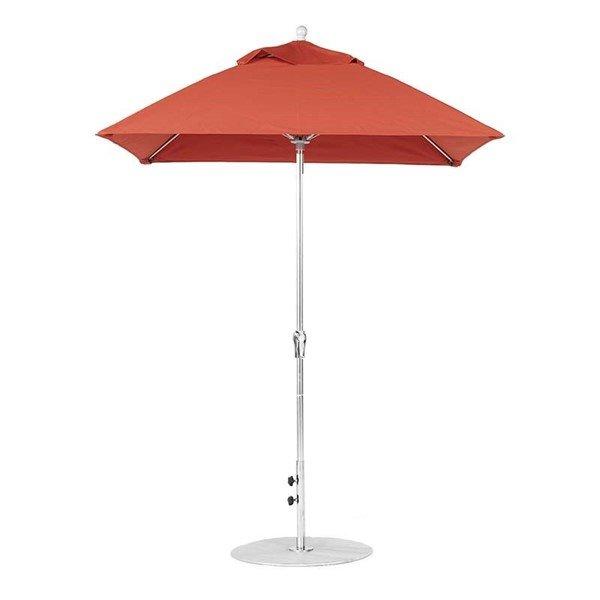 6.5 foot Square Fiberglass Crank Lift Market Umbrella with Marine Grade Canopy