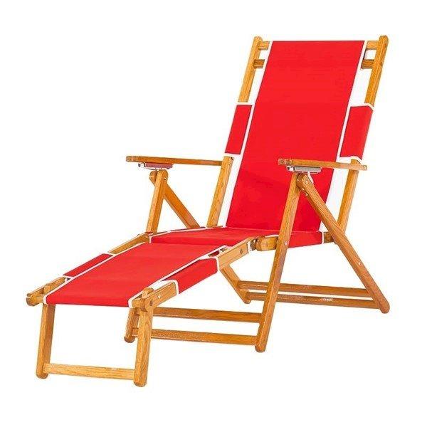 Oak Wood Marine Grade Fabric Beach Chair with Footrest