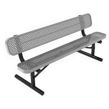 Rhino 6 Ft. Thermoplastic Polyolefin Coated Grey Portable Bench with Back - Expanded Metal