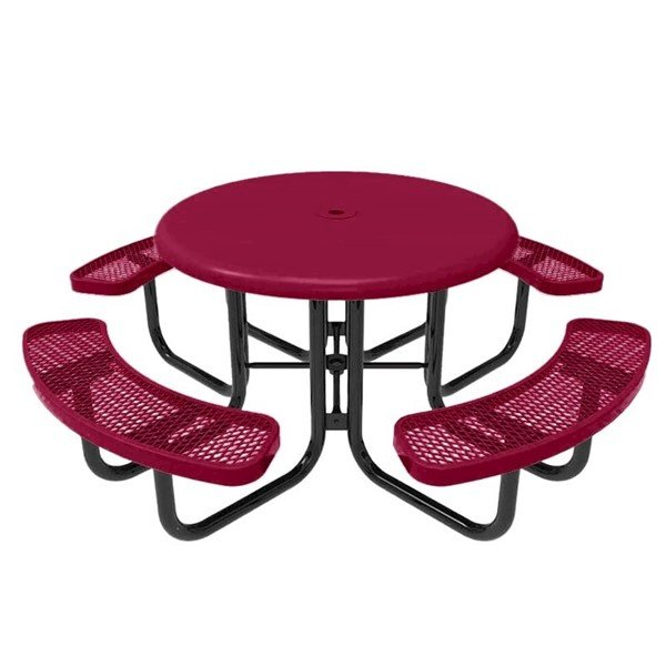 """RHINO 46"""" Round Solid Top Thermoplastic Polyolefin Coated Picnic Table - Quick Ship"""