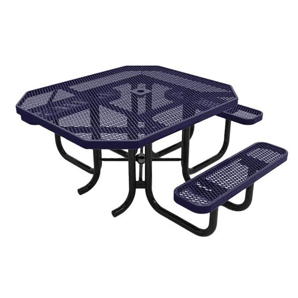 """RHINO 46"""" X 54"""" ADA Compliant Octagonal Thermoplastic Polyolefin Coated Picnic Table - Quick Ship - Expanded Metal"""