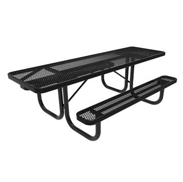 Elite Series 8 ft. Thermoplastic Polyethylene Coated Rectangular ADA Compliant Dual Access Picnic Table with Extended Top - 247 lbs.