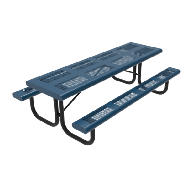 RHINO 8 Ft. Thermoplastic Polyolefin Punched Steel Picnic Table