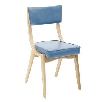 Architect Interior Wooden Restaurant Chair With Vinyl Upholstered Seat