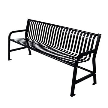 Plaza Steel Strap Thermoplastic Metal Bench With Backrest