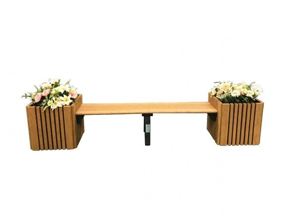 6 Foot Slatted Recycled Plastic Bench With Planter Combo