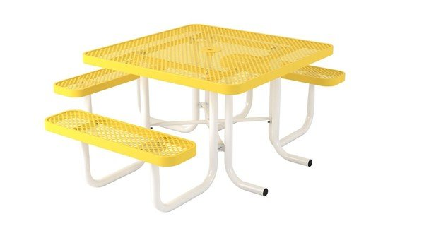 """Ultra Leisure Perforated Style 46"""" Square Polyethylene Coated Steel Picnic Table"""